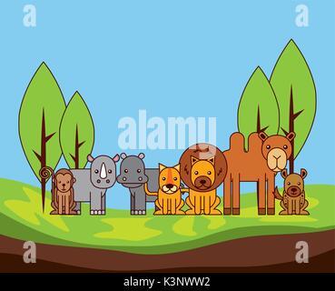 safari different kinds of wild animals - Stock Photo