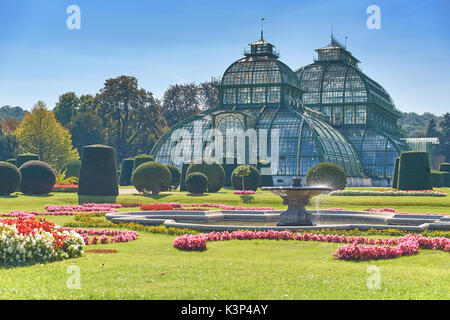 Vienna, Austria - September 24, 2014: Botanical garden near Schonbrunn palace in Vienna - Stock Photo