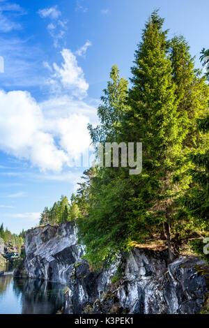 Marble Canyon in the Ruskeala Mountain Park Karelia, Russia - Stock Photo