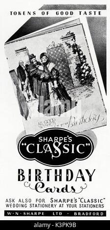 1940s old vintage original advert advertising Sharpe's birthday cards of Bradford in magazine circa 1947 when supplies - Stock Photo