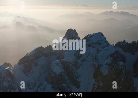The aerial view of the Cimon della Pala and Vezzana peak. Paneveggio natural park, Pale di San Martino groups. Dolomites. - Stock Photo