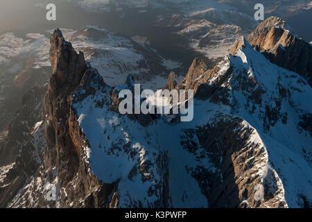 Cimon della Pala and Vezzana peak. Paneveggio natural park, Pale of San Martino groups, Dolomites. Trento province, - Stock Photo