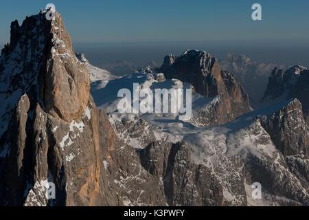 Aerial view of Cimon della Pala peak. Paneveggio natural park, Pale di San Martino groups, Dolomites. Trento province, - Stock Photo