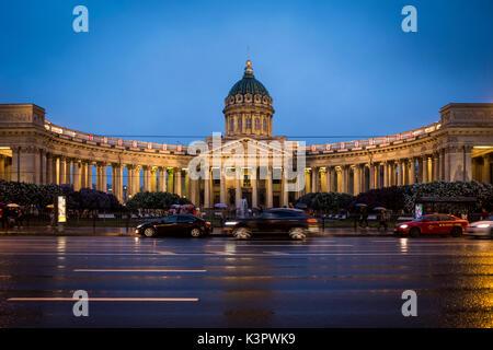 Staint Petersburg, Russia, Eurasia. Kazan Cathedral on Nevsky Prospect. - Stock Photo