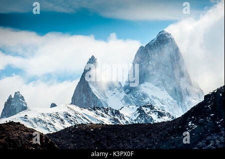 El Chalten, Los Glaciares National Park, Patagonia, Argentina, South America. The Fitz Roy mountain in the clouds. - Stock Photo