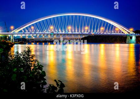 Bratislava, Slovakia, center Europe. The Apollo Bridge in Bratislava is a road bridge over the Danube. - Stock Photo