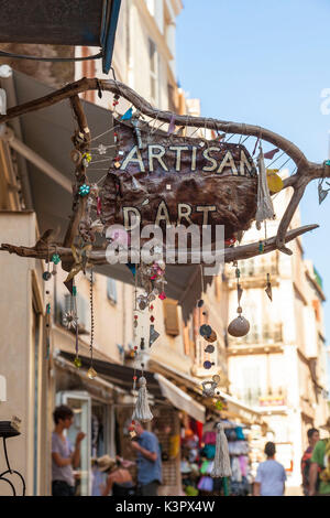 Handicraft shop in the typical medieval alleys of the old town Bonifacio Corsica France Europe - Stock Photo
