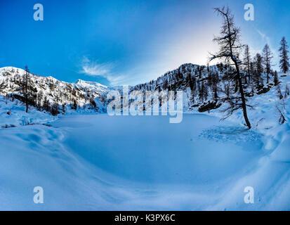 Lago di Sfille in winter, Valle di Campo, Ticino, Switzerland - Stock Photo