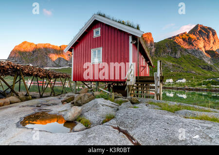 Typical house of fishermen called Rorbu lighted up by midnight sun Reine Nordland county Lofoten Islands Northern - Stock Photo