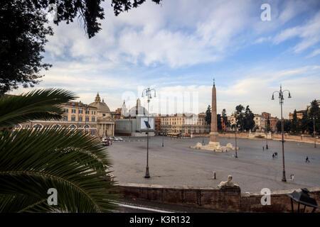 View from a terrace of the Pincian Hill that overlooks Piazza del Popolo toward Basilica di San Pietro Rome Lazio - Stock Photo