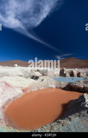 Sol de Mañana is high altitude geothermal field in the desert south of Laguna Colorada. At a height of approx. 4900m - Stock Photo