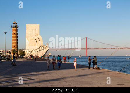 Padrão dos Descobrimentos also known as Monument to the Discoveries on bank of Tagus River Belem Lisbon Portugal - Stock Photo