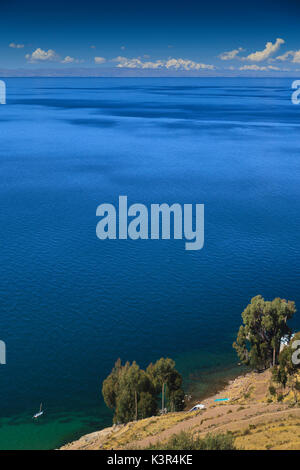 Isla Taquile on the Peruvian side of Lake Titicaca, Puno province, Peru - Stock Photo