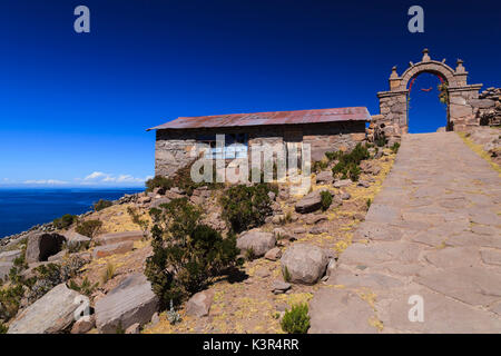 Isla Taquile on the Peruvian side of Lake Titicaca, Peru, South America - Stock Photo
