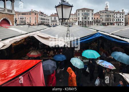 Rainy day in Rialto Market, Venice, Veneto, Italy - Stock Photo