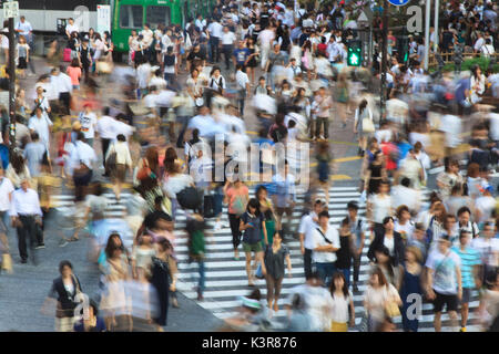 Long exposure of the famous Shibuya crossing in Toyko, Japan - Stock Photo