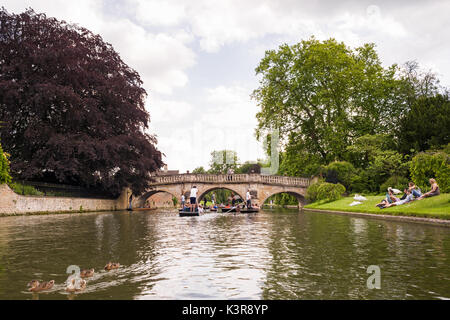 People punting on the river Cam by Clare College University during Summer, Cambridge, United Kingdom - Stock Photo