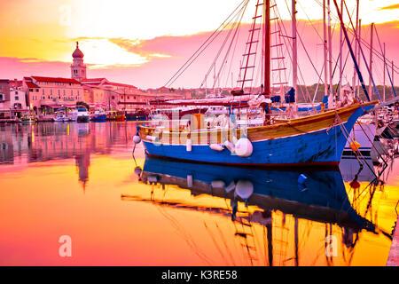 Historic island town of Krk golden dawn waterfront view, Kvarner bay archipelago of Croatia - Stock Photo