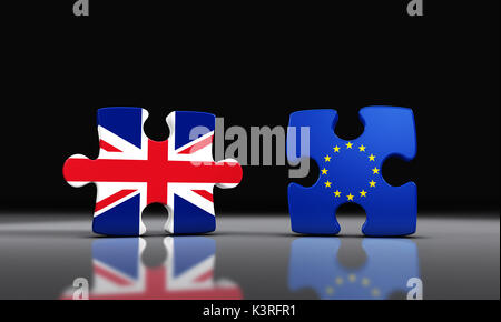 Brexit Britain exit from the European Union concept with Union Jack and EU flag on separated puzzle pieces 3D illustration. - Stock Photo