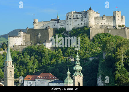 Hohensalzburg Castle in Austria, view from Moenchsberg. High Salzburg Fortress sits atop the Festungsberg. Small - Stock Photo
