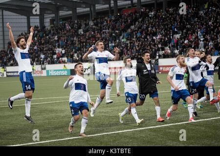Torshavn, Faroe Islands. 03rd Sep, 2017. Faroe Islands, Torshavn – September 3, 2017. The players of the Faroe Islands - Stock Photo