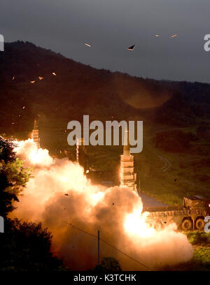 Seoul responds to N.K. nuke test with missile drill This file photo dated July 29, 2017, from the Joint Chiefs of Staff shows South Korea's surface-to-surface missile Hyunmoo being fired. South Korea's military held a live-fire drill in the early morning of Sept. 4, 2017, as a response to North Korea's nuclear test a day earlier, simulating strikes on North Korea's nuclear sites with the Hyunmoo ballistic missiles and F-15K fighter jets. (Yonhap)/2017-09-04 07:55:03/ < 1980-2017 YONHAPNEWS AGENCY. .>  Photo via Newscom