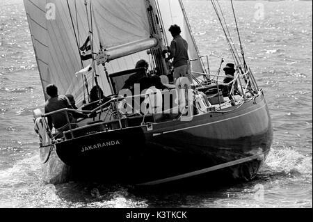 AJAXNETPHOTO. AUGUST, 1973. SOLENT, ENGLAND. - FASTNET RACE START - SOUTH AFRICAN ADMIRAL'S CUP TEAM YACHT JAKARANDA. - Stock Photo