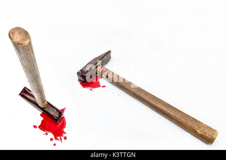 hammer with blood on white background - Stock Photo