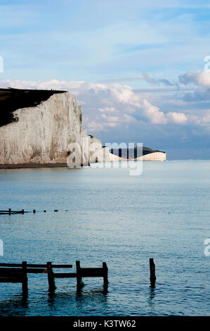 A dramatic view of the Seven Sisters, a series of white chalk cliffs by the English Channel. They form part of the - Stock Photo