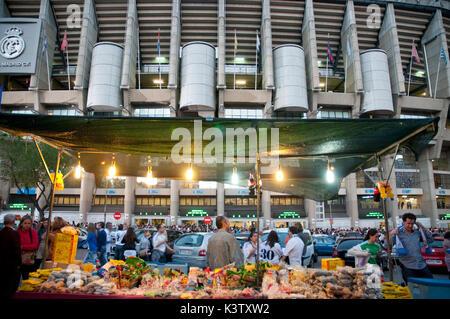 Atmosphere before Real Madrid- Barcelona football match. Santiago Bernabeu stadium, Madrid, Spain. - Stock Photo