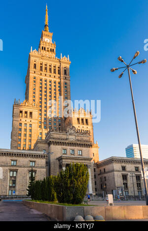 The Palace of Culture and Science (PKiN), a landmark and symbol of communism. Constructed in 1955. Warsaw, Poland. - Stock Photo