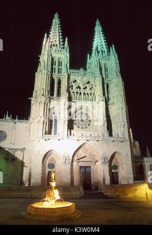 Gothic cathedral, night view. Burgos, Castilla Leon, Spain. - Stock Photo