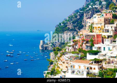 Positano, Campania, Salerno, beautiful Town on the Amalfi Coast. - Stock Photo