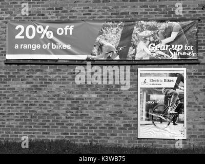 Halfords Group plc, advertising poster for 20 percent of a range of bicycles - Stock Photo
