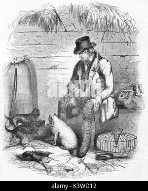 Old illustration of an english mouse catcher. By unidentified author, published on Magasin Pittoresque, Paris, 1841 - Stock Photo