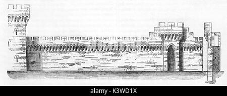 Old illustration of Avignon bastions plan and section, built in 1349 by Pope Clement VI. By unidentified author, - Stock Photo