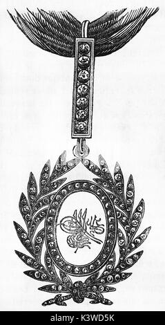 Old illustration of a Turkish decoration. By unidentified author, published on Magasin Pittoresque, Paris, 1841 - Stock Photo