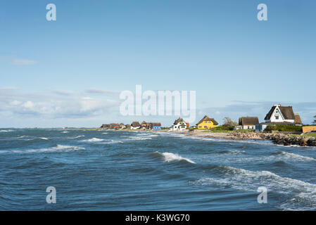 Historic colorful beach houses with thatched roofs at the sandy beach in the nature reserve on the peninsula of - Stock Photo