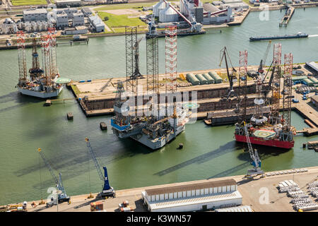 ROTTERDAM, THE NETHERLANDS - Rig platforms moored in the Port of Rotterdam.