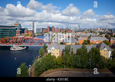 Regeneration docks area MediaCityUk at Salford Quays Gtr Manchester, modern luxury housing estate and the Detroit - Stock Photo