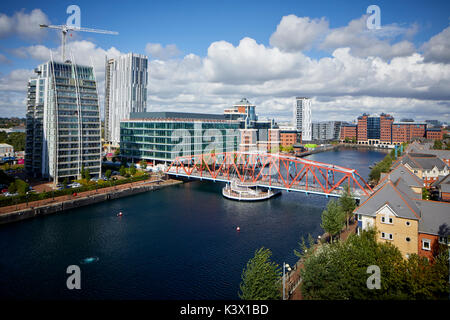 Regeneration docks area MediaCityUk at Salford Quays Gtr Manchester, modern luxury apartments NV Buildings and the - Stock Photo