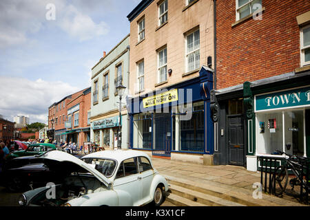 Landmark Stockport Town Centre Cheshire in gtr Manchester St Historic buildings around the market area and vintage - Stock Photo