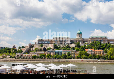 The iconic Buda Castle or Royal Palace in the Buda Castle District, viewed from Pest, Budapest, capital city of - Stock Photo