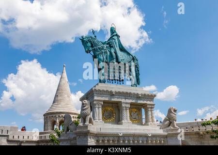 Statue of king St Stephen I of Hungary mounted on horseback, Fisherman's Bastion, Castle Hill, Buda, Budapest, capital - Stock Photo