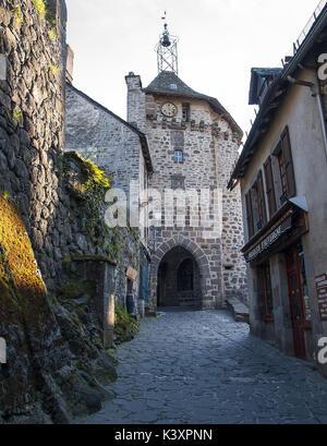 Rue du Beffroi, Salers, Cantal, France - Stock Photo