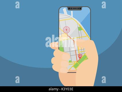 Mobile GPS navigation and routing concept with hand holding modern bezel-free smartphone. Vector illustration with - Stock Photo