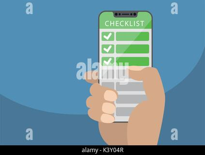Hand holding bezel-free smartphone with green checklist as concept for mobile and online todo lists. Vector illustration - Stock Photo