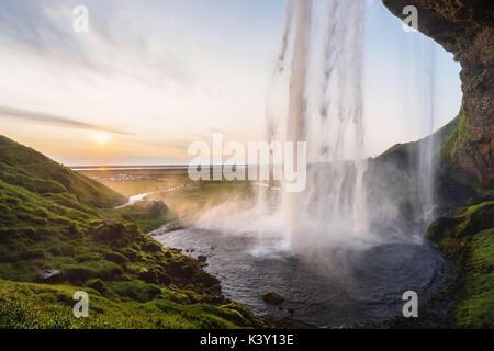 Seljalandsfoss waterfall, iceland. - Stock Photo
