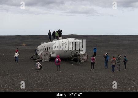 Site of the Solheimasandur crash, where a US Navy plane crash-landed in 1973. - Stock Photo
