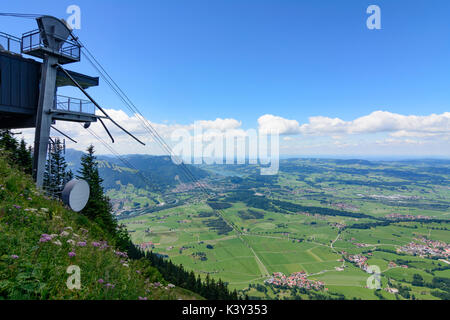 mountain Grünten summit Hochwartspitze, service cableway, view to Immenstadt, Immenstadt, Schwaben, Allgäu, Swabia, - Stock Photo